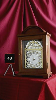 Walnut clock mirror back, table or mantel, triple chimes, battery