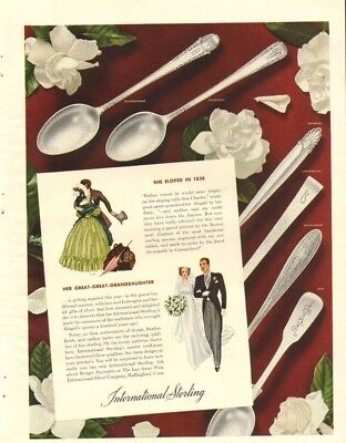 1938 LARGE Print Ad of International Silver Sterling Silverware eloped in 1838