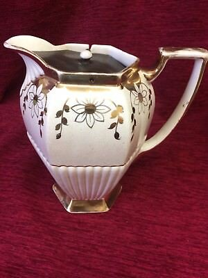 Vintage S Johnson BURSELM  Brittania Pottery Cream Gold Floral Water Jug  Teapot