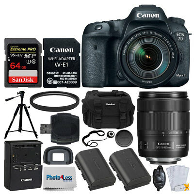 Canon EOS 7D Mark II SLR Camera + 18-135mm Lens & Wi-Fi Adapter + 64GB Card