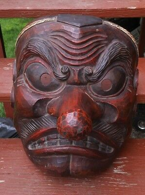 """Vintage Japanese Tengu solid wood large Mask 19"""" x 15"""" x 16"""" hand carved chipped"""
