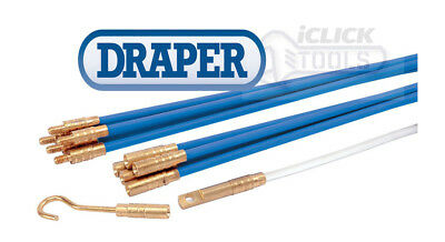 Draper Flexible Electricians Cable Pulling Tool Rods Set & Access Kit (10 x 1m)