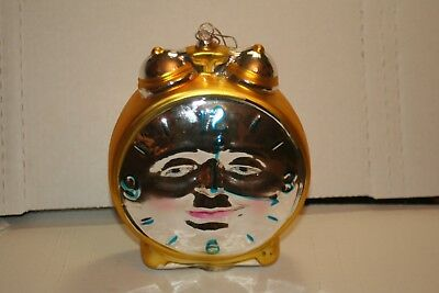 Dept 56 Mercury Glass Clock Ornament Hand Painted