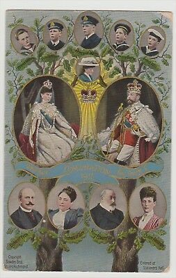 1911 Coronation George V And Queen Mary. Family Tree Postcard