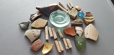 Stunning lot of Roman to late Medieval/19th C. pot/glass/pipe shards UK L112c