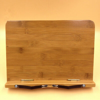 Multipurpose Premium Bamboo Book Holder with Tray and Page Paper Clips