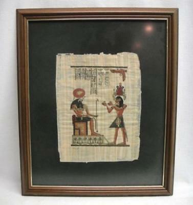 Vintage Egyptian Painting Papyrus Paper Framed Picture Tut Offering To Horus