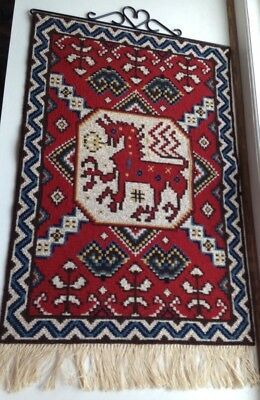 Vintage Swedish Embroidered Large Tapestry / River Horse / Bäckahästen