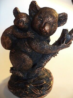 "5"" Heavy Copper Resin? Koala Bear & Baby Figurine Statue Sculpture"