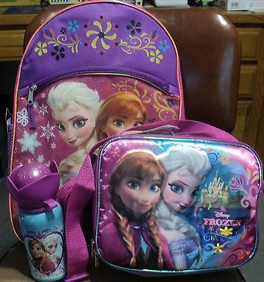 Frozen Elsa & Anna Backpack Lunch Kit Tote Bag  Disney Thermos New With Tags