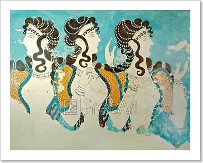 Ancient Fresco From Crete, Greece. Art Print Home Decor Wall Art Poster - E