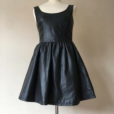 H&M Divided Faux Leather Skater Dress Size 8 in Black. Perfect Condition