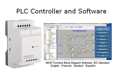 Programmable Logic Controller PLC 4 AC inputs, 4 Relay, 120/220V Software & USB