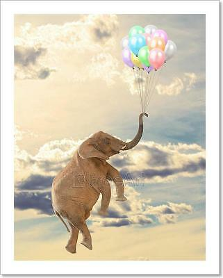 Elephant Flying With Balloon Art Print Home Decor Wall Art Poster - E