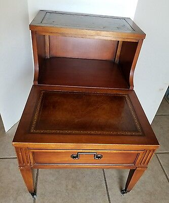 Vintage Stair Step 2 Tier End Table Leather Inserts Drawer Wood On Wheels