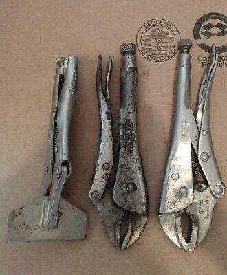 3 Locking Pliers - Sheet Metal and Other - 2 Peterson Vise Grips & 1 Super Ego