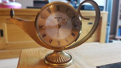 Vintage 1960's Swiza 8  Alarm Clock Swiss Made With Genie Lamp Design