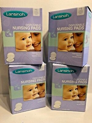 Lansinoh Stay Dry Disposable Nursing Pads 60 Count Boxes (Pack of 4) TOTAL 240