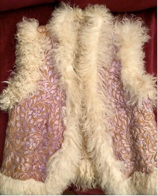 Vintage '60's-'70's Authentic Hippy Boho Shearling Embroidered Afghan Vest