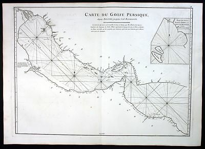 1775 Persian Gulf Bahrain Iran United Arab Emirates sea map Karte Mannevillette
