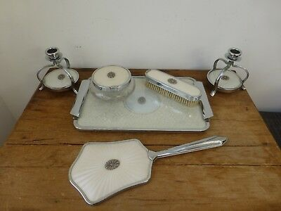 Art Deco - Ivory Colour, Chrome + Marcasite Dressing Table Set - Very Glamorous