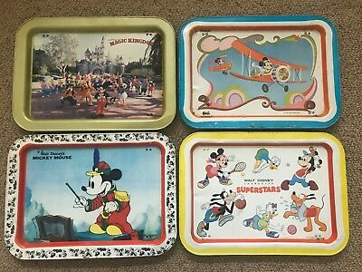 Vintage Walt Disney Productions TV Trays Metal Lot of 4 Mickey Mouse