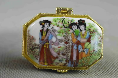 China Collectable Handwork Porcelain Paint Belle & Flower Lucky Rare Jewelry Box