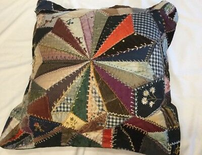 Antique Vintage Crazy Quilt Pillow Hand Stitched Embroidered Flowers Stitching