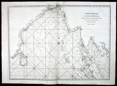 1775 Bay of Bengal India Myanmar Malaysia Cambodia sea map Karte Mannevillette