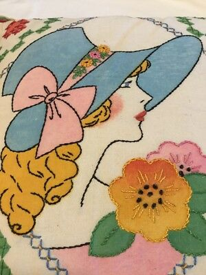 Antique Vintage Hand Stitched Embroidered Pillow Cover Lady Face Sun Bonnet