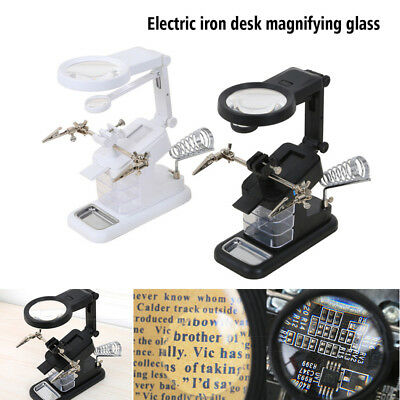 LED Helping Hand Clamp Magnifying Glass Soldering Iron Stand Lens Magnifier Tool