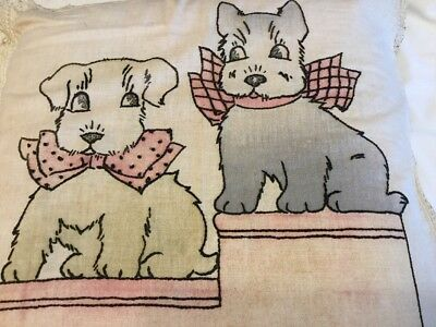Antique Vintage Hand Stitched Embroidered Pillow Cover Scottie Dog