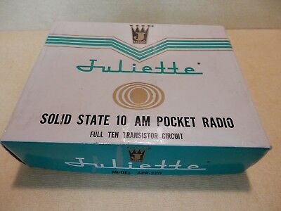 Vintage Juliette Solid State 10 Am Pocket Radio Model Apr-220 Very Clean In Box