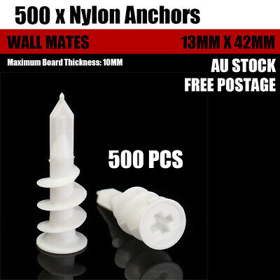 1000 PCS Nylon Anchors Screws 13mm x 42mm Wall Mates For Plaster Board ND-0903