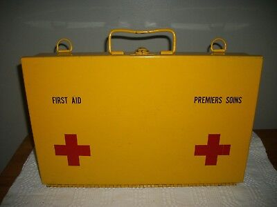 "Vtg YELLOW METAL First Aid BOX Wall mountable 13.5""x8.75"" & 2.5""deep Instruction"