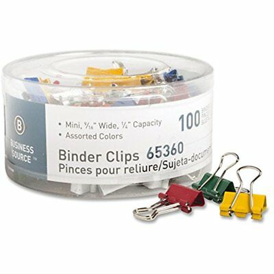 Business Source Mini Binder Clips Pack Of 100 Assorted Colors 65360