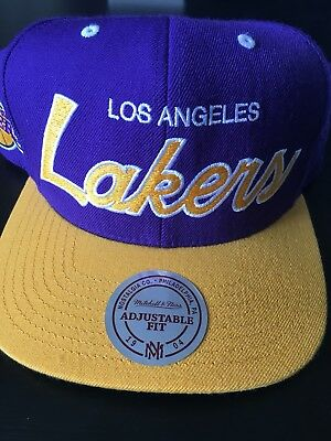 Los Angeles Lakers Mitchell   Ness Script Purple Gold Snapback Hat Cap NBA da25e1165ee