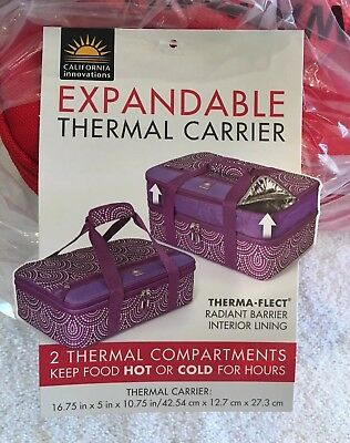 """Insulated Expandable Double Casserole Carrier, 16.75"""" X 5"""" X 10.75"""" Hot/Cold"""