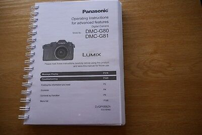 Panasonic Dmc-G3 Full User Manual Guide Instructions Printed 208 Pages A5