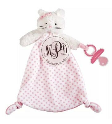 MUD PIE CAT MONOGRAMMABLE PACY Pacifier Holder Lovey Security Blanket New!