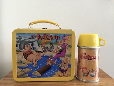 The Flintstones Tin School Days Lunchbox Thermos Hallmark Ltd Edition Run 1999