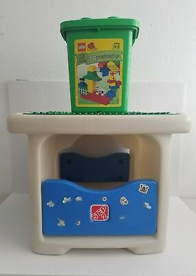 Used Step 2 LEGO DUPLO Play Table Building Brick Storage + Incomplete Set  #3036