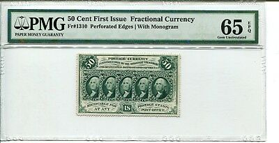 FR 1310 Perforated w/ Monogram Fractional 50 Cents First Issue 65 EPQ GEM UNC