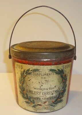 1898-1890 Christmas New Years Advertising Peanut Butter or Candy Tin Pail