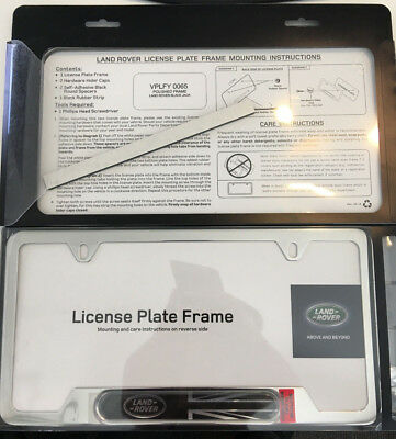 GENUINE LAND ROVER License Plate Frame Black with Logo and Union ...