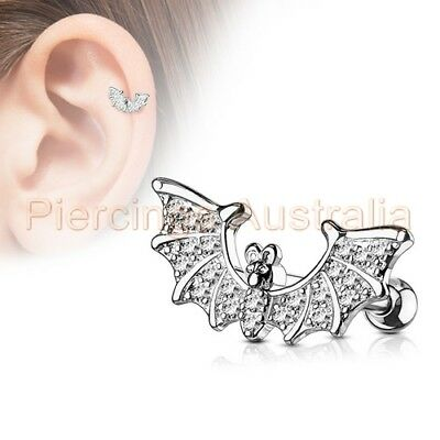 CZ Bat Cartilage Tragus Ear Ring Bar Piercing Stud Barbell Body Jewellery