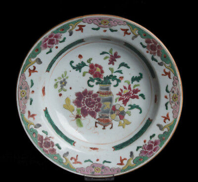 China 18. Jh. Qianlong Fencai Teller - A Chinese Famille Rose Plate - Chinois