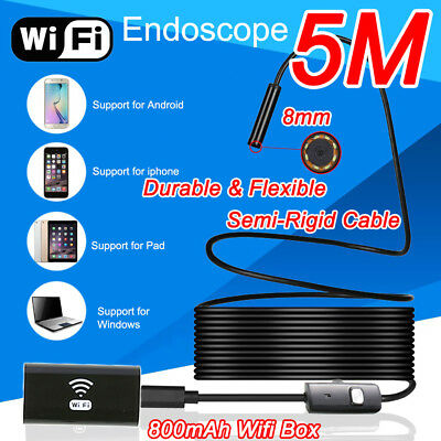 5m 6led WIFI Waterproof Endoscope Inspectioncamera Semi Rigid for Andriod Iphone