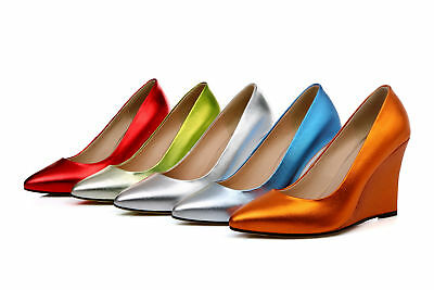 Women's Wedge Heel Shoes Red/Green/Blue/Orange/Silver Real Leather Pointed Pumps