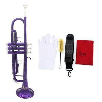 High Quality Bb Beginner Trumpet Purple +Care Kit+Case For Shool Student B5F6